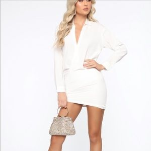 SOLD NWT* White Collared Wrap Dress
